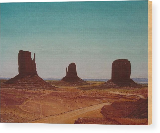 Monument Valley Wood Print featuring the pastel Road To Monument Valley by Harvey Rogosin
