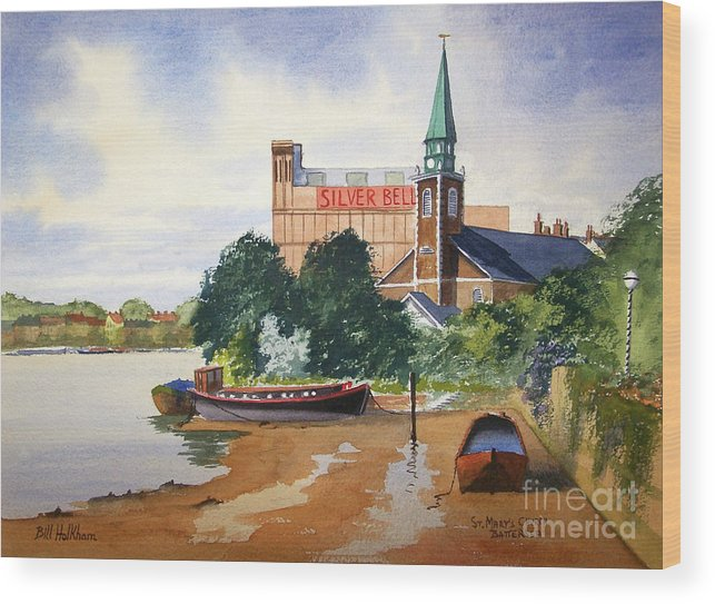St Mary's Wood Print featuring the painting Saint Mary's Church Battersea London by Bill Holkham