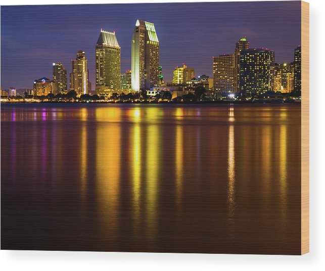 Scenics Wood Print featuring the photograph San Diego Skyline by Krzysztof Hanusiak Photography