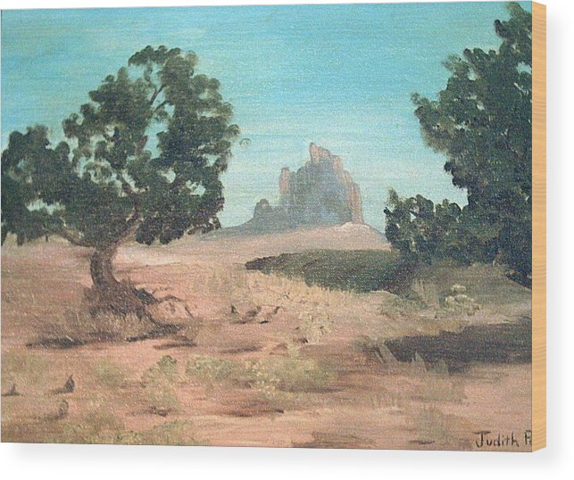 Mountain Wood Print featuring the painting Ship Rock New Mexico by Judi Pence