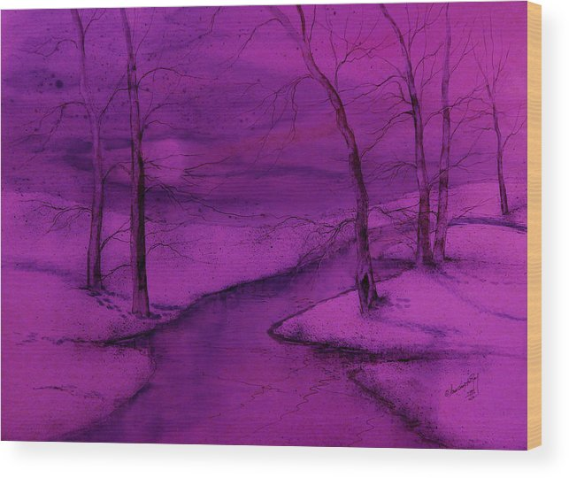 Beautiful Wood Print featuring the painting Snowed In IIII by Anna Sandhu Ray