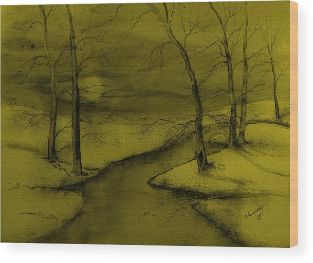 Beautiful Wood Print featuring the painting Snowed In V by Anna Sandhu Ray