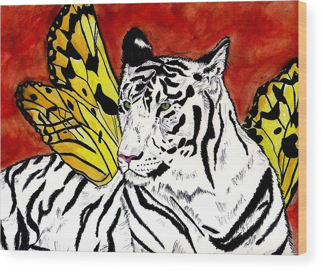 Tiger Wood Print featuring the painting Soul Rhapsody by Crystal Hubbard