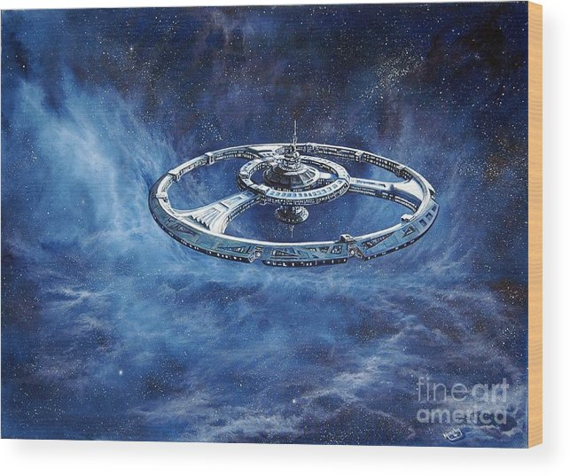 Sci-fi Wood Print featuring the painting Deep Space Eight Station Of The Future by Murphy Elliott
