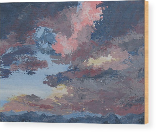 Stormy Sky Wood Print featuring the painting Storm A Brewin by Janis Mock-Jones