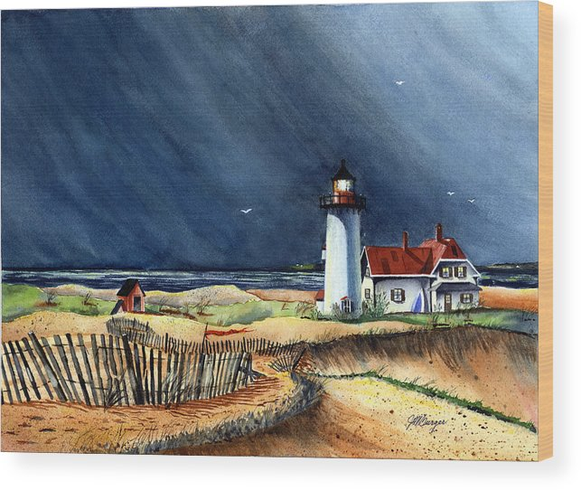 Race Point Wood Print featuring the painting Storm At The Point by Joseph Burger