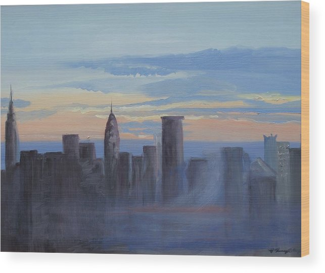 New York Wood Print featuring the painting Sunset In New York by Patricia Kimsey Bollinger