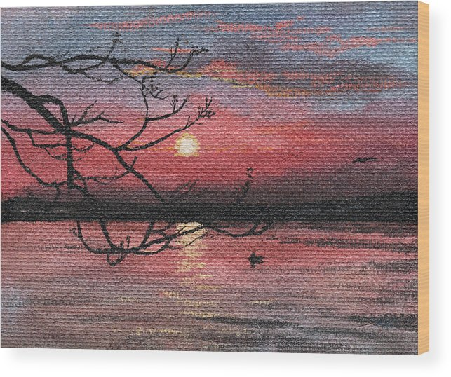 Sunset Wood Print featuring the photograph Sunset On The Lake by Masha Batkova