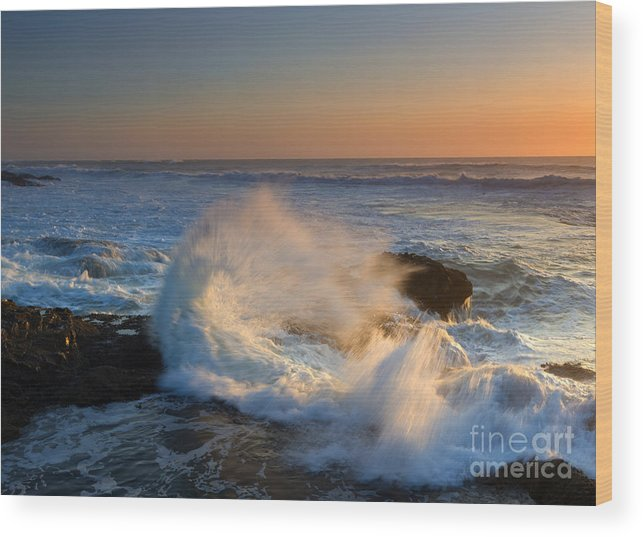 Yachats Wood Print featuring the photograph Sunset Spray by Mike Dawson