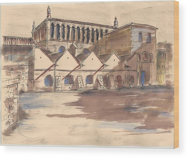 Old City Wood Print featuring the drawing Synagoga Cracow by Monika Golebiowska