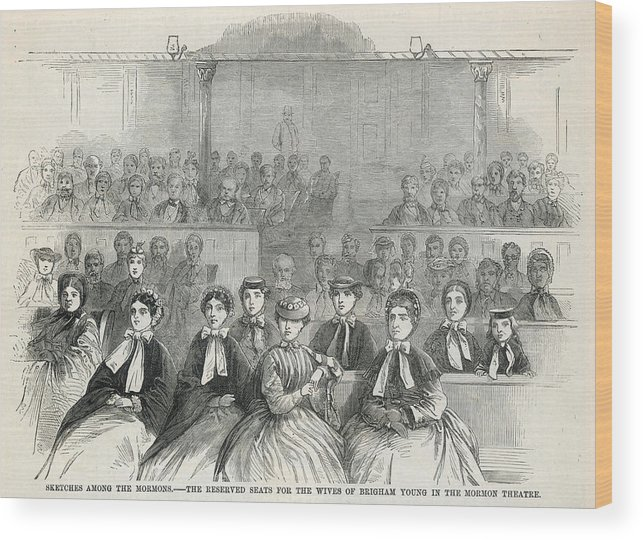 Mormon Wood Print featuring the drawing The Many Wives Of The Mormon Leader by Mary Evans Picture Library