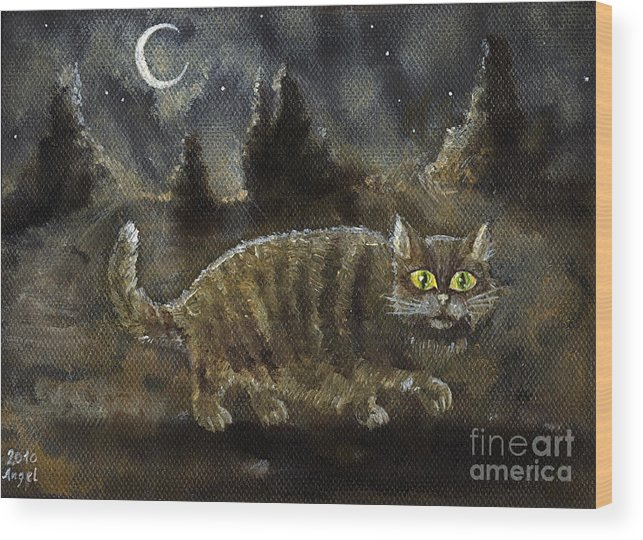 Cat Wood Print featuring the painting The Night Stalker by Angel Ciesniarska