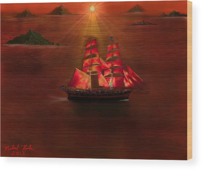 Voyage Wood Print featuring the digital art The Voyage by Michael Rucker