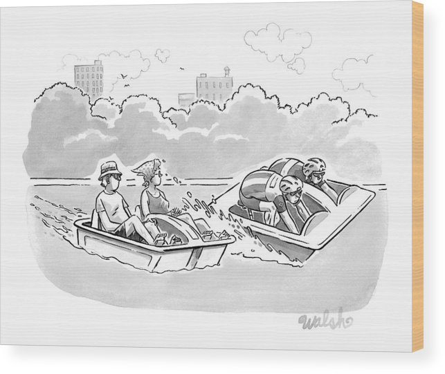 Captionless Bicycle Wood Print featuring the drawing Two Tour-de-france Like Cyclists In A Paddleboat by Liam Walsh