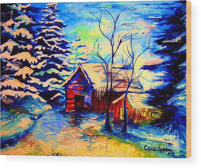 Vermont Winterscenes Wood Print featuring the painting Vermont Winterscene In Blues By Montreal Streetscene Artist Carole Spandau by Carole Spandau