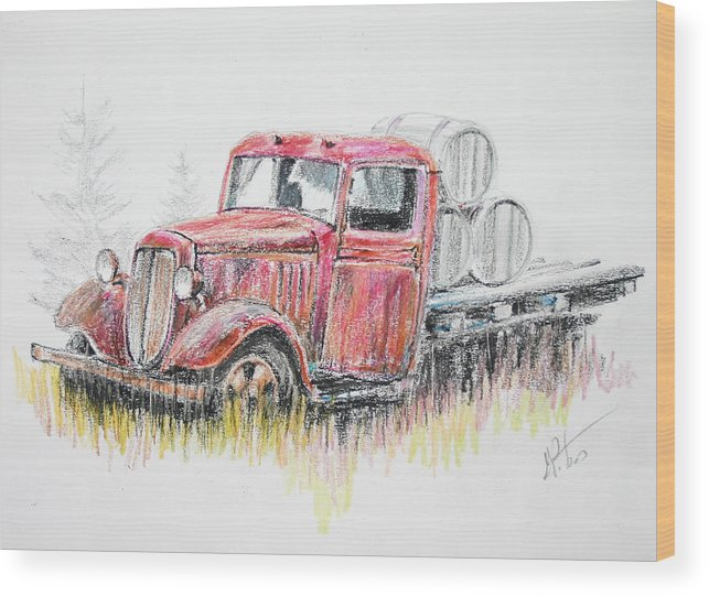 Truck Wood Print featuring the painting Vino by Gregory Peters