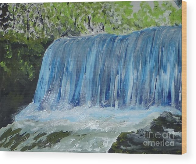 Water Wood Print featuring the painting Waterfall by Marie Bulger