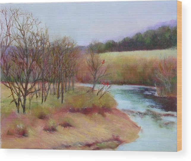 Landscape Wood Print featuring the painting Winter Creek         Copyrighted by Kathleen Hoekstra