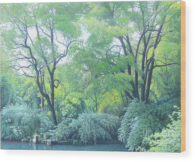 Nature Wood Print featuring the painting Woods Beside The Pond by Tierong Fu