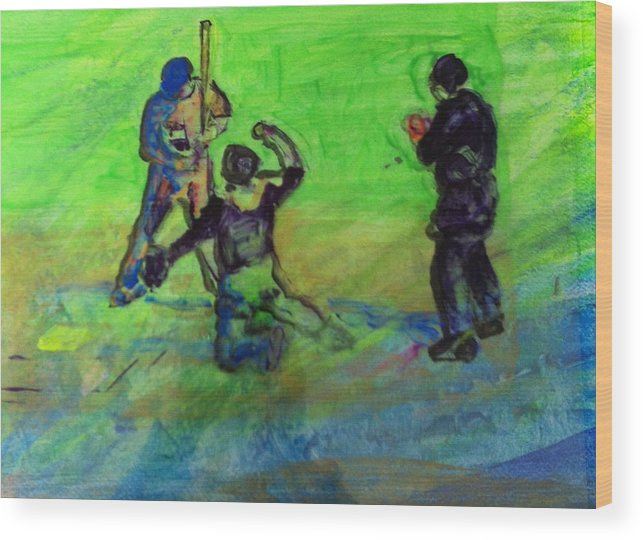 Baseball Wood Print featuring the painting Batter Up by Gail Eisenfeld