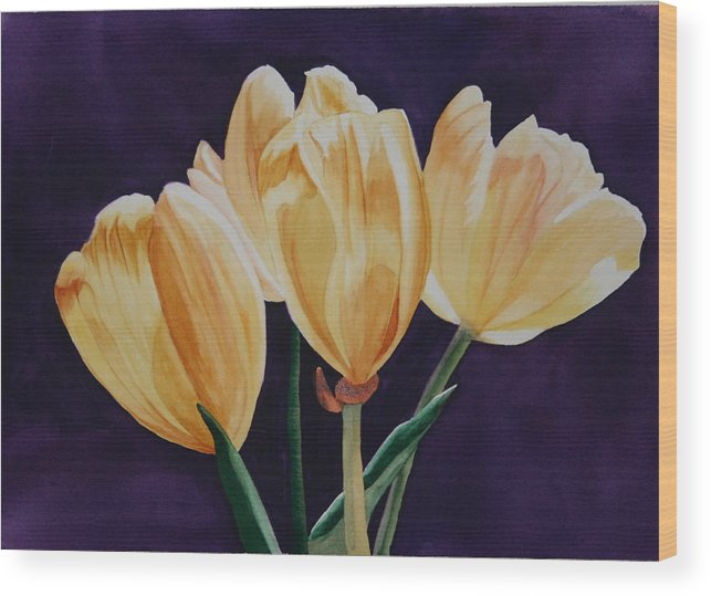 Tiny Tim Tip Toe Through The Tulips Yellow Purple Flower Green Back Light Wood Print featuring the painting Tip Toe by Teresa Beyer