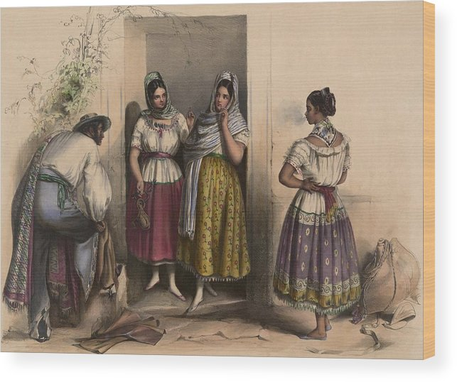 History Wood Print featuring the photograph A Man And Three Women From Puebla by Everett