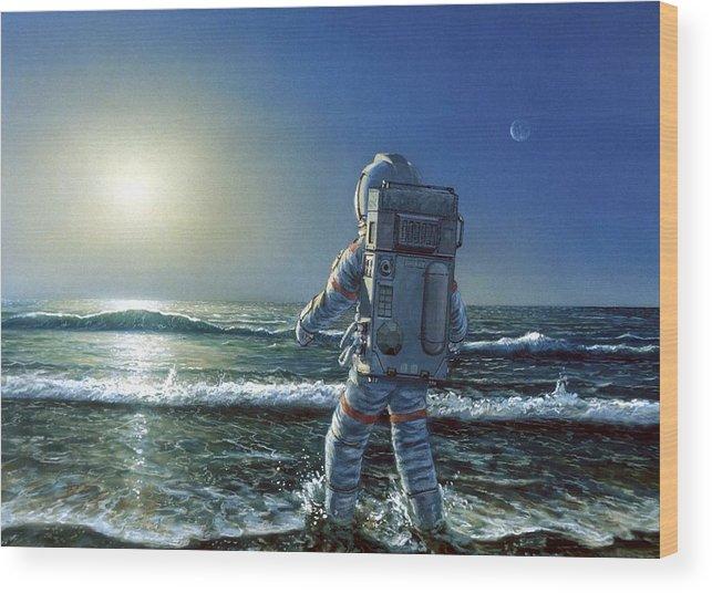 Astronaut Exploring An Alien Planet Wood Print