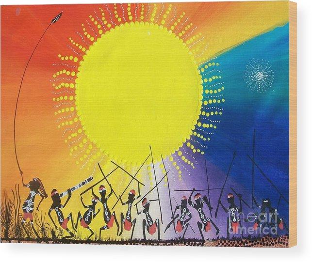 Aboriginal Art Wood Print featuring the mixed media Corobooree by David Dunn