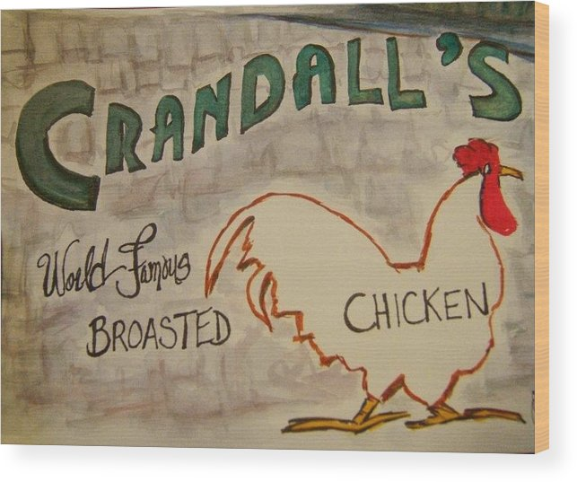 Sign Wood Print featuring the painting Crandalls by Elaine Duras