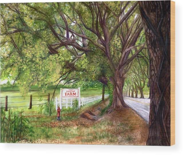Farm Wood Print featuring the painting Docville Farm by Elaine Hodges