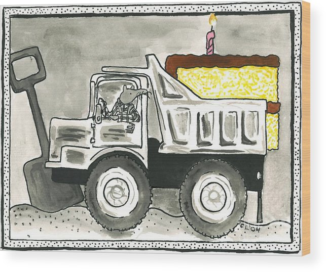 Mouse Wood Print featuring the painting Dump Truck Birthday by Heart-Led Woman