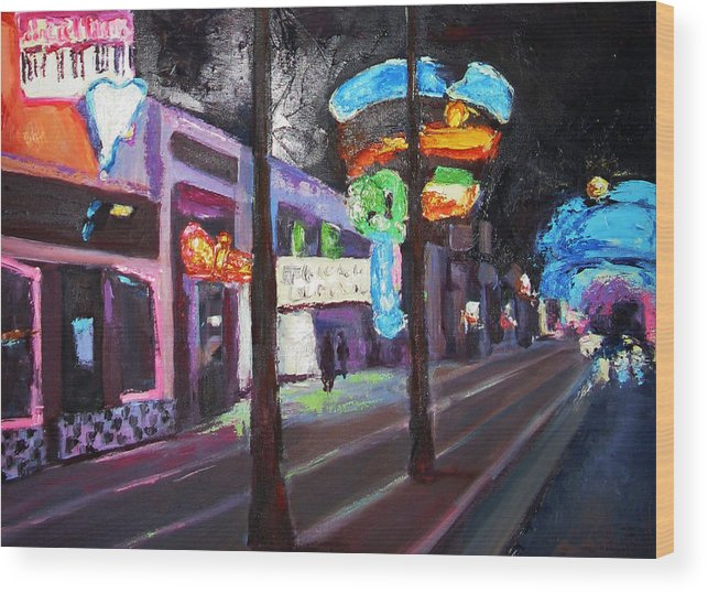 Wood Print featuring the painting East Fremont St Colors by Kathleen Strukoff