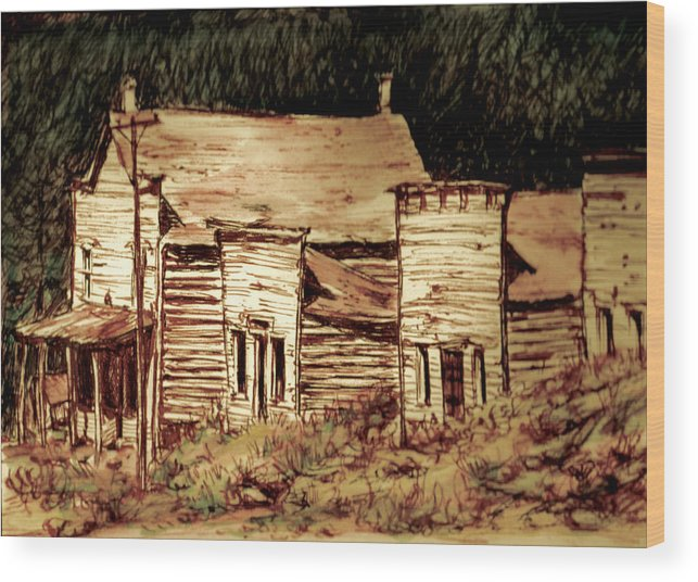 Wood Print featuring the painting Elkhorn Montana by Kitty Meekins
