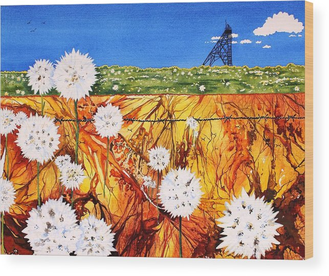 Watercolour Wood Print featuring the painting Glorious Goldfields by Renata Wright