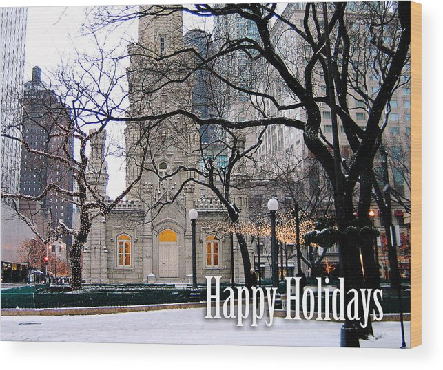 Happy Holidays Wood Print featuring the photograph Happy Holidays From Chicago by Laura Kinker
