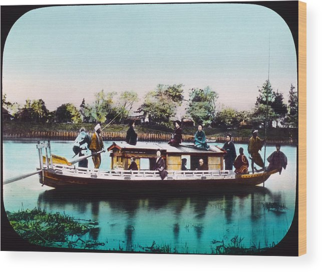 1890s Wood Print featuring the photograph Japan, A Houseboat, Hand Colored by Everett