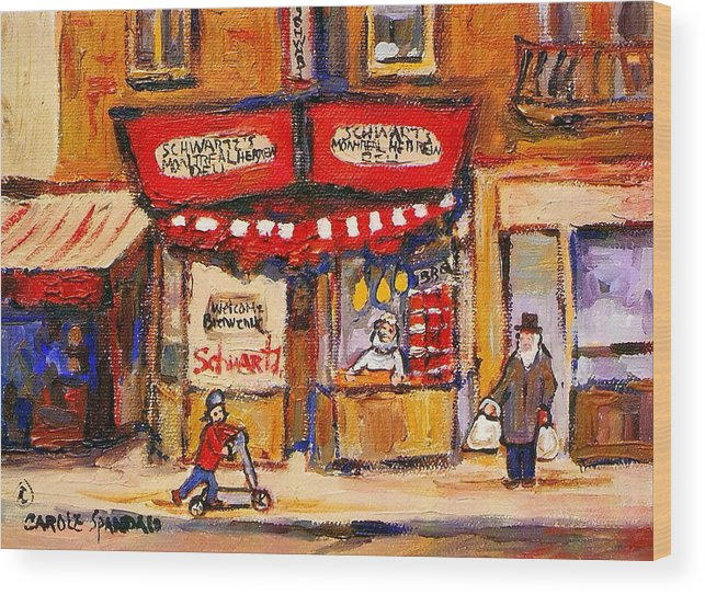 Jewish Montreal Art Wood Print featuring the painting Jewish Montreal Vintage City Scenes Schwartzs Original Hebrew Deli by Carole Spandau