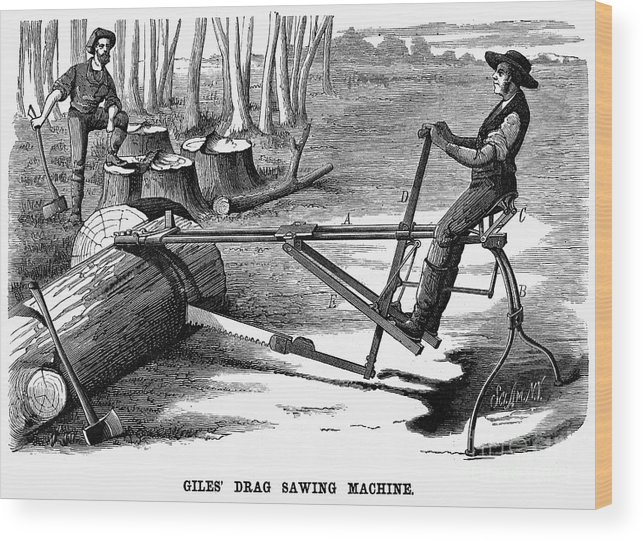 1879 Wood Print featuring the photograph Lumbering: Saw, 1879 by Granger