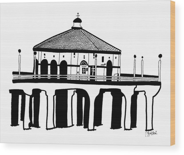 Wood Print featuring the drawing Manhattan Beach Pier by Candace Stalder