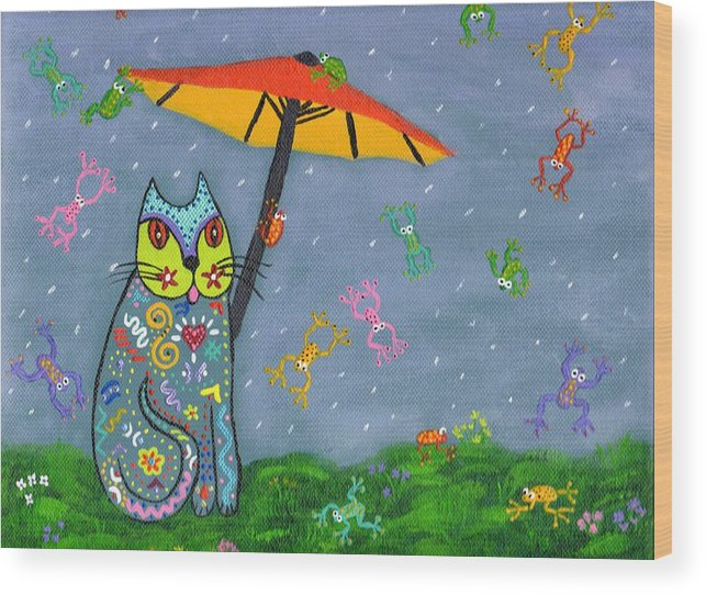 Cat Wood Print featuring the painting Raining Frogs On Kittyboy by Marilyn Ferguson