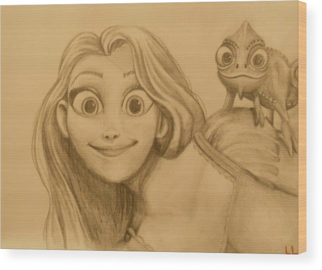 Disney Wood Print featuring the painting Rapunzel And Pascal by Lisa Leeman