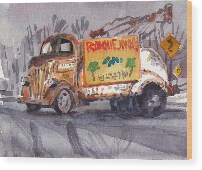 Wrecker Wood Print featuring the painting Ronniejohn's Four by Donald Maier