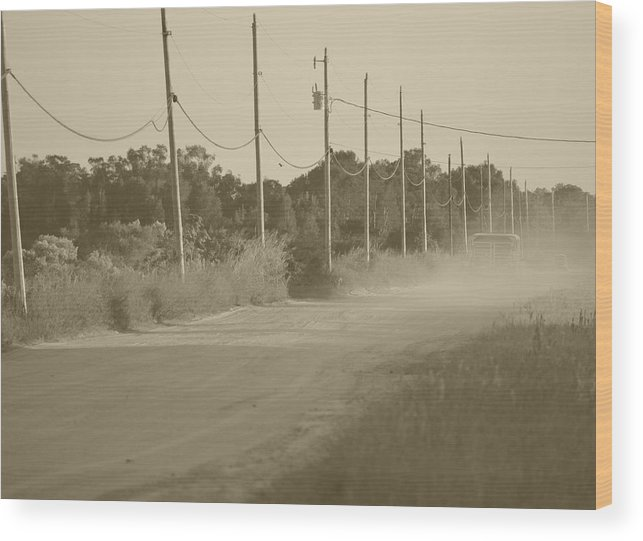 Rural Wood Print featuring the photograph Rural Dirt Road In Sepia by Ronald T Williams