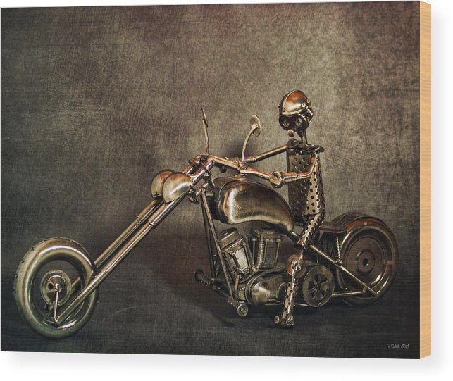 Motorcycle Wood Print featuring the digital art Steel Horse 2 by Peter Chilelli