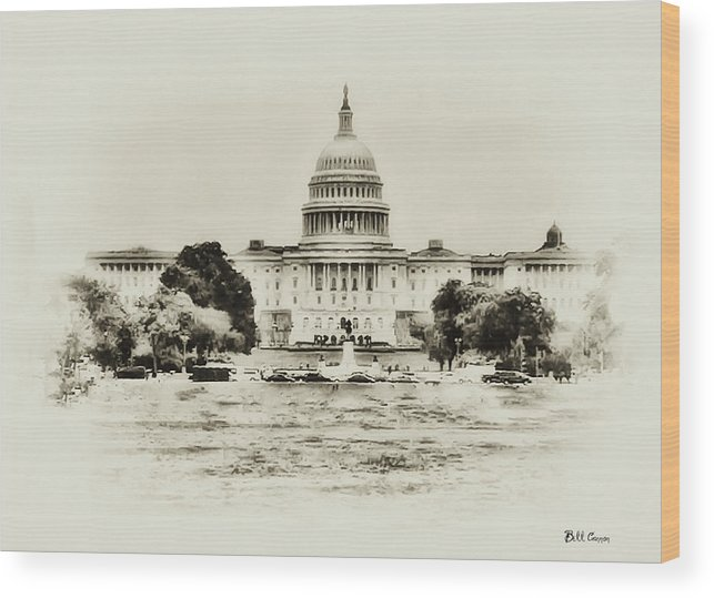 Capital Wood Print featuring the photograph The Capital Bulding by Bill Cannon