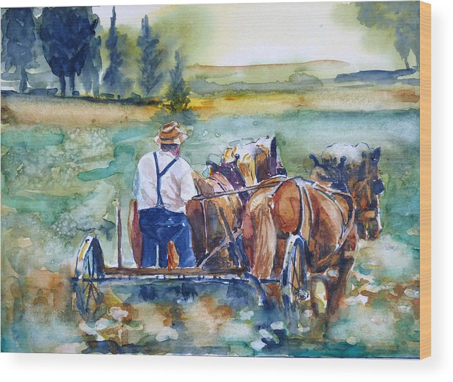 Farm Wood Print featuring the painting The Farm by P Maure Bausch