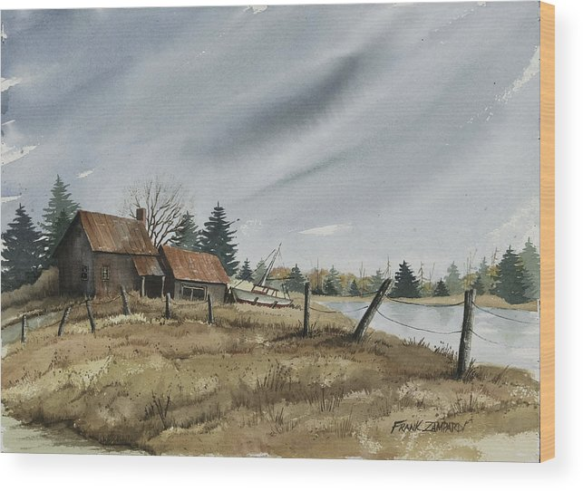 Rustic Cottage Wood Print featuring the painting White Lake by Frank Zampardi