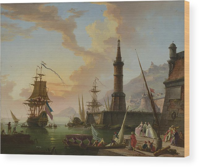 Ship Wood Print featuring the painting A Seaport by Claude-Joseph Vernet