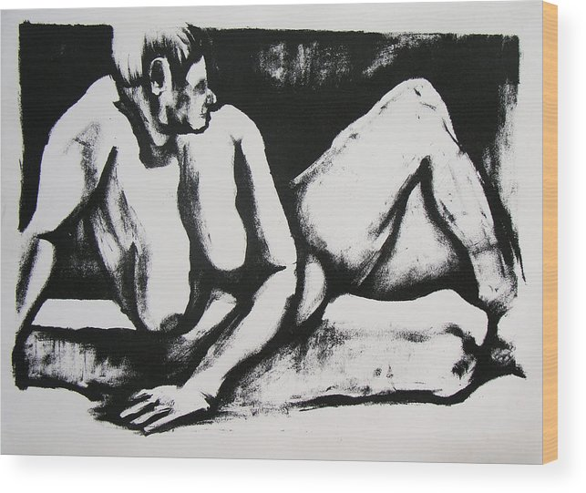 Nude Wood Print featuring the drawing Air Conditioned Stomach by Brad Wilson