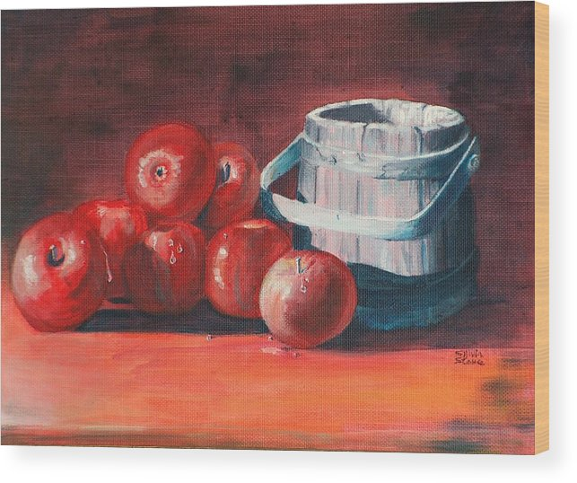 Apple Wood Print featuring the painting Apples - N - Wodden Basket by Sylvia Stone